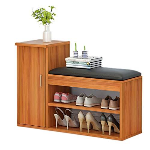 THBEIBEI opslag banken hout opslag bank 2-tier met opslag vak opslag plank kast schoen bank stoel opslag organisator voor hal entree woonkamer 85X30X61CM