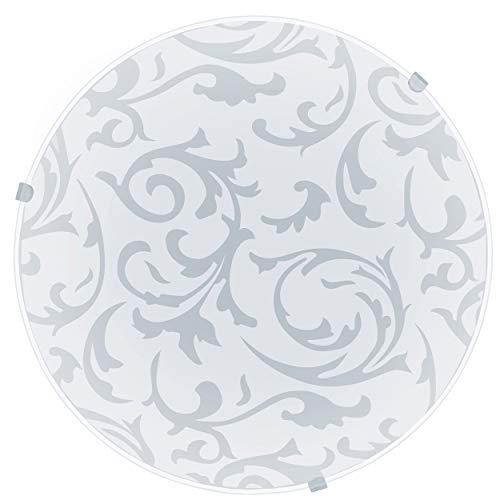 EGLO Deckenlampe Mars, 1 flammige Wandleuchte, Deckenleuchte aus Stahl, Farbe: Weiß, Glas: Weiß satiniert Motiv Dekor, Fassung: E27