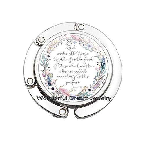 God Works All Things Together for The Good of Those who Love Him Romans 8 28 Bible Verse Purse Hook Christian Jewelry Gift,PU372 (Silver)