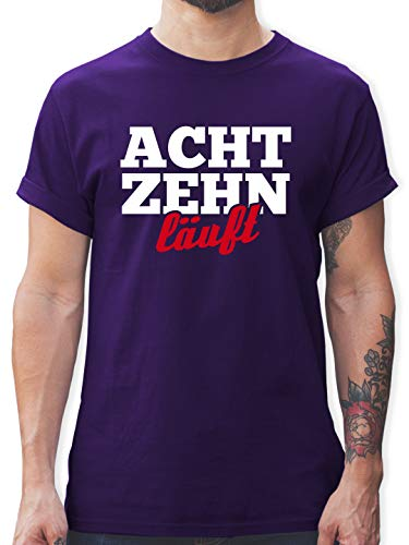 Geburtstag - 18. Geburtstag läuft - XXL - Lila - 18 Geburtstag Tshirt - L190 - Tshirt Herren und Männer T-Shirts