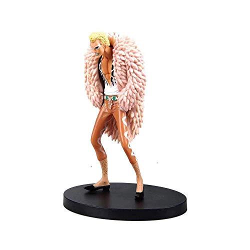 Wsjdmm One Piece Donquixote Doflamingo Joker Stehend Stattliche Firebird Mantel-Rosa PVC-Handmodell Puppe Ornamente Geburtstags-Geschenk Schöne Boxed 17cm hoch