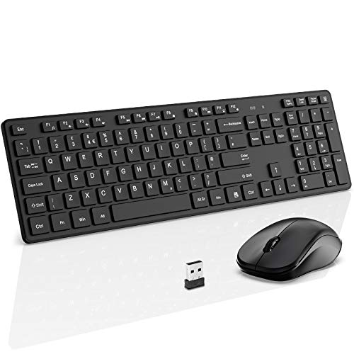 Wireless Keyboard and Mouse, WisFox 2.4G Slim Ergonomic Keyboard and Mouse Set with One USB Receiver, Full Size Qwerty Keyboard Quiet Computer Mouse for Windows/Laptop/PC