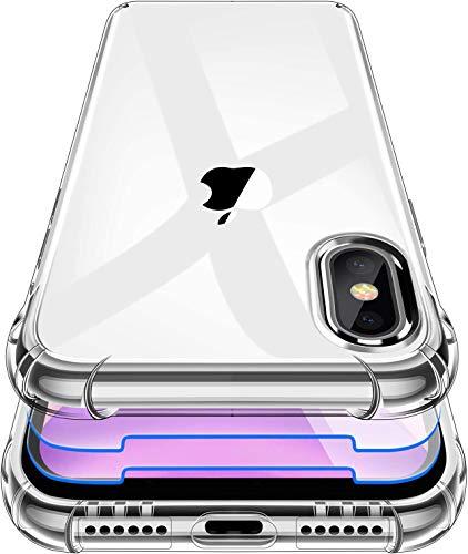 Garegce Coque pour iPhone XS, Coque pour iPhone X, 2 Pack Verre trempé Protecteur écran, Souple Clair TPU Silicone, Housse Bumper Shock-Absorption Anti dérapante Cover pour iPhone XS, X -Transparent
