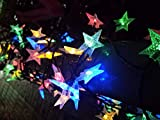 Dragonfly Home Products Solar Powered String Lights Outdoor 32 ft 80 LED 8 Modes Star Lights Multicolored Fairy String Lights for Yard Patio Garden Party Holiday Deco (32, Star Multicolored)