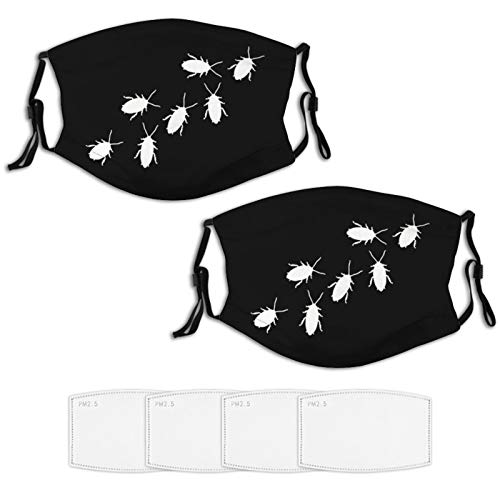 2 Piece Face Mask Set Plus 4 Replaceable Air Filters Cockroach Insect Animal Ant Roach Funny Washable Reusable Adjustable Black Cloth Bandanas Scarf Neck Gaiters for Adults Men Women Kids