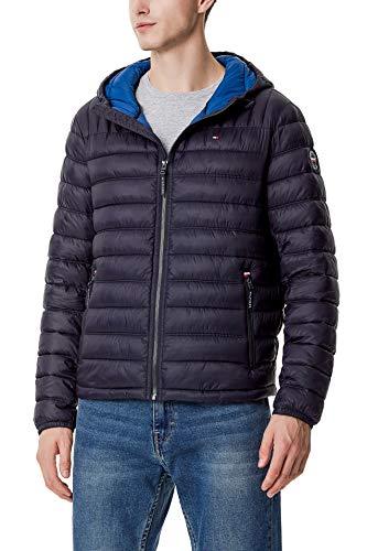 Tommy Hilfiger Men's Water Resistant Ultra Loft Filled Hooded Puffer Jacket, Midnight Colorblock, Medium