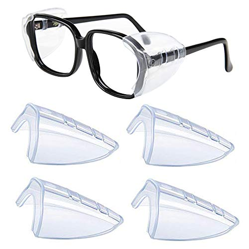 Side Shields for Eyeglasses Glasses Slip on Clear Side Shields for Safety Glasses Eye Protection Glasses Shields Small Large 2 Pairs