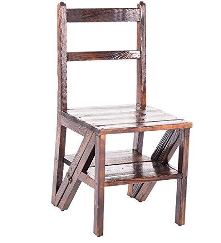 WUDENG Escabeau en bois à double usage escabeau en bois massif Chaises de sol pliant monter l'échelle carbonisé couleur 66x50x66cm (Couleur : Rétro couleur)