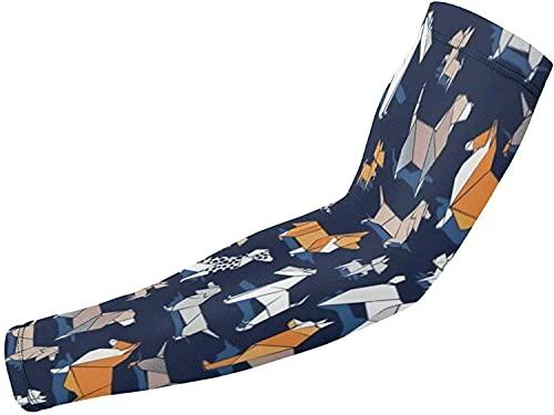 Mangas para brazo de refrigeración con protección UV, 1 par de mangas de compresión para ciclismo, correr, baloncesto, fútbol, origami de perro