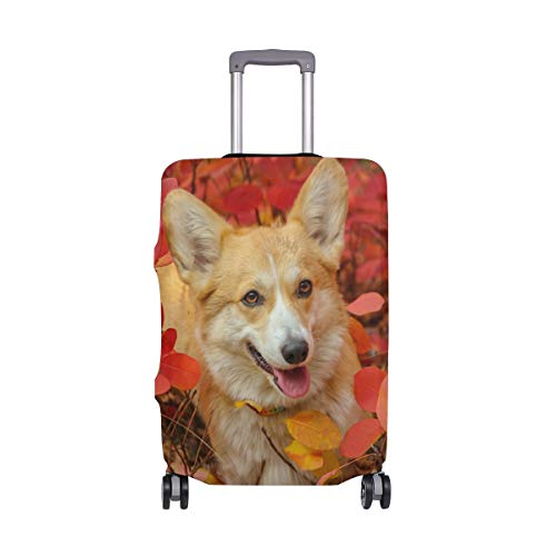 Travel Luggage Cover Protector Corgi Dog Cute Animal Doggy Suitcase Baggage Cover Spandex for Adult Women Men Teen Fits 22-24 Inch