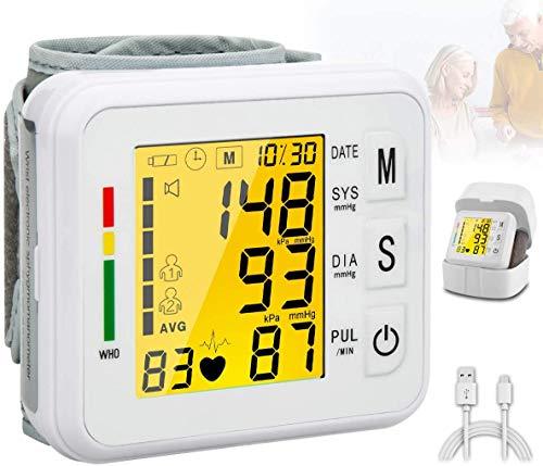 Topffy Blood Pressure Monitor,Digital BP Cuff Wrist Blood Pressure Cuff Monitor Automatic Backlit Rechargeable Wrist Blood Pressure Monitor BP Machine