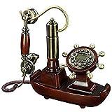 VERDELZ Fijo Teléfono Fijo Línea Fija Pastoral Europea Artesanía Retro Madera Maciza Teléfono Antiguo Tela Cuerda Manos Libres Identificación De Llamada Antigua Teléfono De Casa Línea Fija
