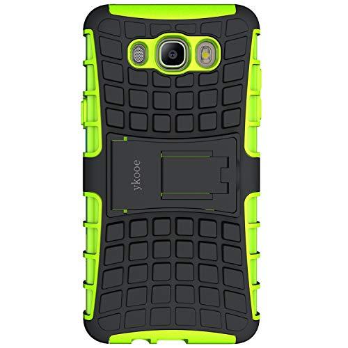 ykooe Galaxy J7 2016 Hülle, (TPU Series) Samsung Galaxy J7 (2016) Dual Layer Hybrid Handyhülle Drop Resistance Handys Schutz Hülle mit Ständer für Samsung Galaxy J7 2016 - Grün