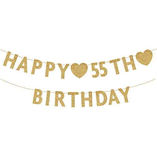 Gold Happy 55th Birthday Banner, Glitter 55 Years Old Woman or Man Party Decorations, Supplies