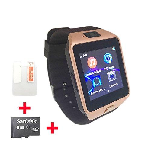 OCTelect GSM Smartwatch DZ09 mit DREI LED-Leuchten und großer Kapazität Batterie (Gold)