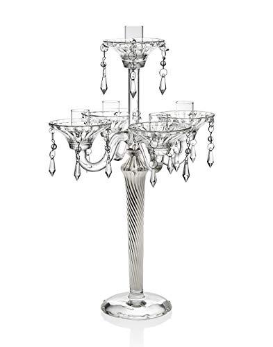 5 Light Crystal Candelabra With Silver Tapered Stem