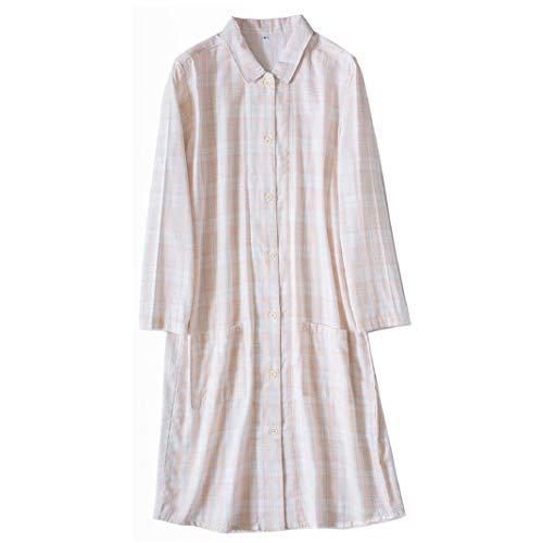 DyM Camisón de hilo de doble capa para mujer, primavera y verano, pijamas a cuadros de manga larga, vestido de algodón, camisón informal para el hogar(Color:Pink grid,Size:L)