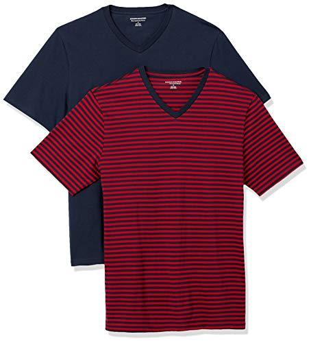 Amazon Essentials 2-Pack Slim-Fit V-Neck T-Shirt Camiseta, Raya/Azul Marino Rojo/Azul Marino, L, Pack de 2