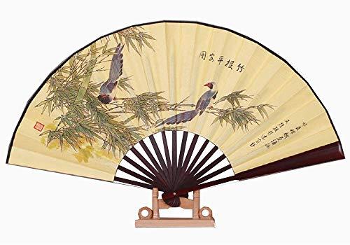 TINGYI Abanico elegante de seda y bambú, abanico plegable 33 cm, estilo...