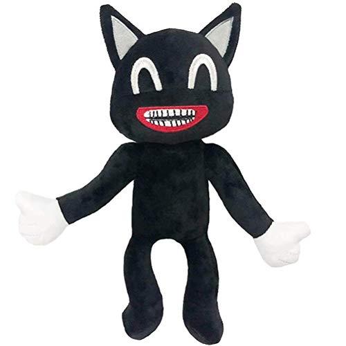 Katyma Peluche de gato de dibujos animados, color negro, suave, juguete para niños, regalo de cumpleaños, Navidad o Año Nuevo