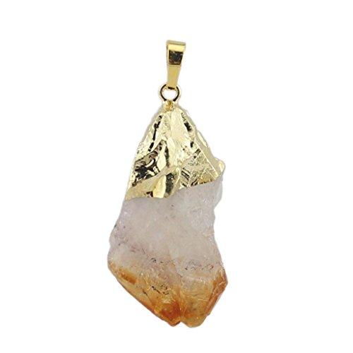 F Fityle Cristal Citrino para Collar De Cuarzo De Forma Irregular Colgante De Piedra Amarilla