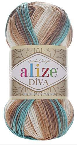 100% microfibra filato Alize Diva Batik effetto seta filo uncinetto mano maglia turco filato Art Lotto di 4skn 400g 1532yd gradiente di colore (4603)