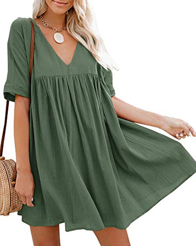 Hestenve Women's Short Sleeve V Neck Pleated Babydoll Solid Color Tunic Party Swing Mini Dress Army Green