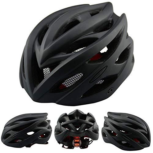 Fietshelm, bergweg fietshelm met LED-verlichting 24 ventilatieopeningen, Verstelbare volwassen helm mat zwart hoofdomtrek 55-61㎝