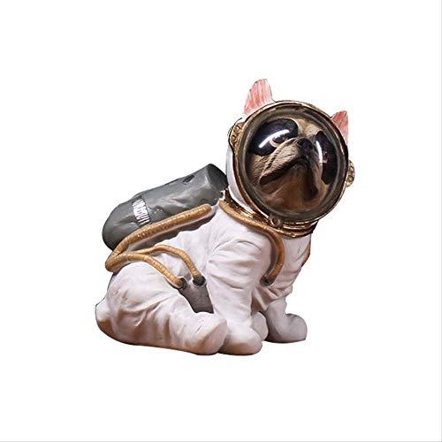 ZGPTX Statue Sculpture Objet Decoration Deco Interieur Maison Design Moderne Salon Astronaute Statue Figurine Animaux Spaceman Bulldog Art Sculpture