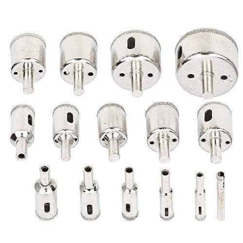 Keenso Drill Bit, 15pcs Drill Bit Set 6‑50mm Tile Marble Glass Ceramic Hole Saw Drilling Bits Tools