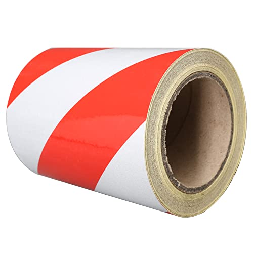 Hazard Warning Tape, 15Cm25M Red/White Safety Tape Adhesive Marking Barrier Tape, for Walls Floors Pipes