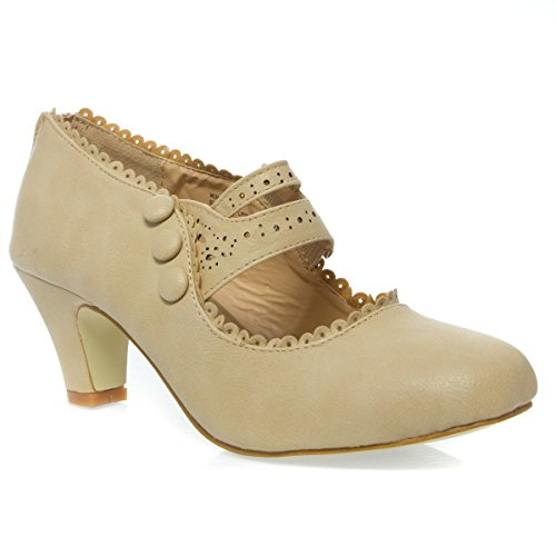 Womens 36-MINA4 Closed Toe Mary Jane High Heel Shoes, Nude PU Leather, 7.5 B (M) US