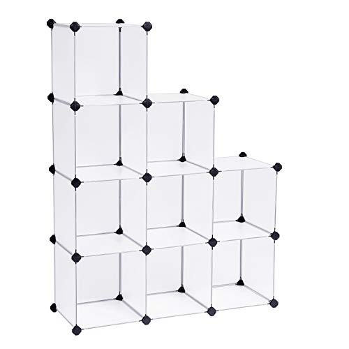 SONGMICS Armario Modular de Plástico PP, Estantería, Organizador para Ropa con 9 Cubos, 93 x 31 x 123 cm LPC115S