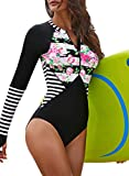 Azokoe 2021 Bathing Suit for Womens Long Sleeve Printed Padded Maillot One Piece Bathing Suit Athletic Sporty Swimsuit Surfing Swimwear Black Size L 12 14