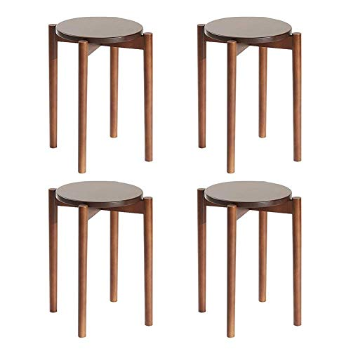 JIEER-C sillas de ocio redondo taburete, color caramelo de madera pequeñas taburetes de mesa redonda antideslizante apilable taburete de salón duradero fuerte marrón