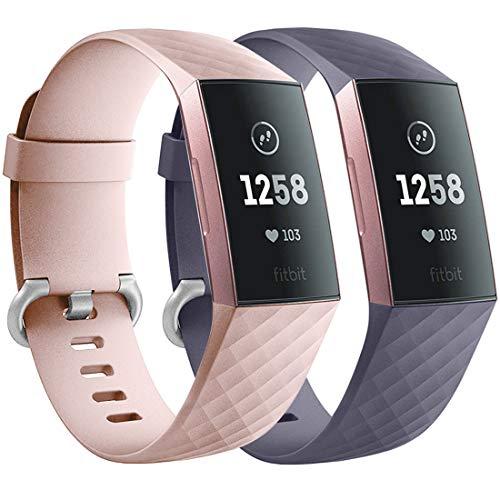 Faliogo 2 Stück Ersatzriemen Kompatibel mit Fitbit Charge 3 Armband/Fitbit Charge 4 Armband, Weiches Sports Uhrenarmband Armbänder für Damen Männer, Klein, Rosa/Blau Grau