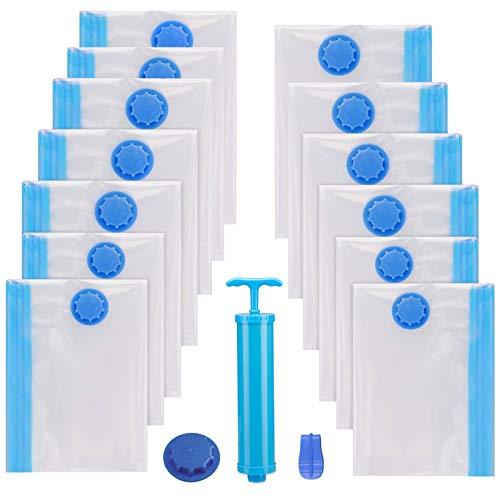 ZOJI Vakuumbeutel 13 Stück (1 x Jumbo, 3 x groß, 3 x mittel,3 x klein, 3 x super klein) für Bettdecken Decken Kleidung Kissen Travel Space Saver Seal Bag Handpumpe