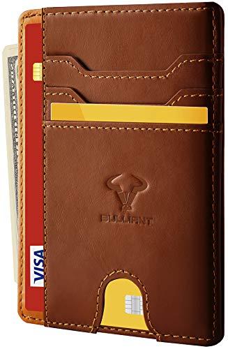 Geldbörse Herren und Damen,BULLIANT Kreditkartenetui Geldbeutel Mini Portemonnaie,RFID Schutz (BraunS127)