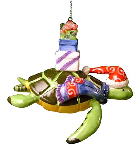 Sea Turtle Christmas Ornament Wearing a Santa Hat and Scarf, Carrying Presents on His Back