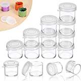 50 Pieces Plastic Mini Containers with Lids, Small Paint Cup, Plastic Mini Paint Containers DIY Craft Storage Containers Craft Paint Cup for Paint Beads Seeds Clay or Others