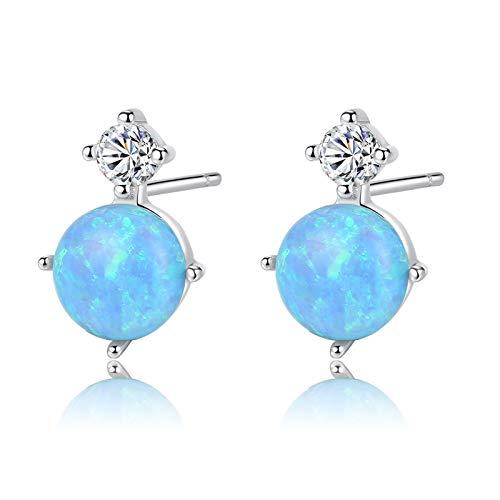 Beydodo Pendientes Plata de Ley 925 Mujer,Pendientes de Mujer Azul Redondo Ópalo Azul