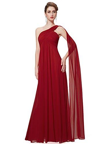 Ever-Pretty Vestidos Largos de Fiesta Noche de Gasa de un Hombro de Las Mujeres Vestidos sólidos 36 borgoña