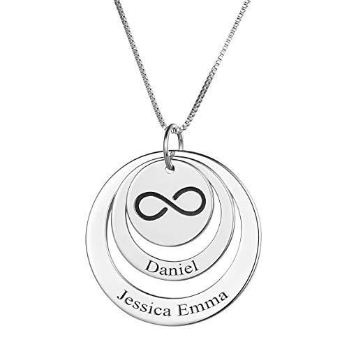 HooAMI S925 Silber Personalisierte Halskette Namenskette Mit 1-3 Namen Familienkette Hohle Kreis Unendlichkeitszeichen Mit Gravur Silber