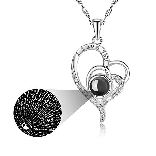 Birthday Gifts for Girlfriend I Love You Necklace 100 Languages Heart Necklace for Women Christmas Valentine's Day Mother's Day Love Gifts for Wife Her, 18'+2' Extender