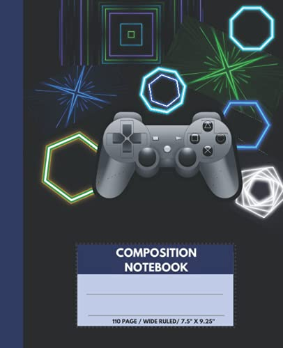 Composition Notebook: Video Game, Wide ruled, Blank Lined, 110 pages, Cute Black, Blue & Green Gaming Subject book for school or work. Great for Kids, ... Adults or Gamer for Writing Notes Journal