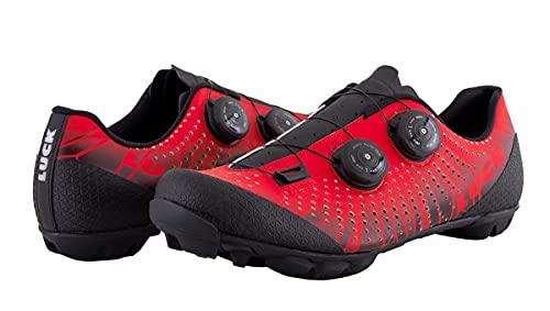 LUCK Spider | Zapatillas MTB Ciclismo Horma Ancha | Hombre y Mujer | Bicicleta Montaña | Suela Carbono | Doble Cierre Rotativo | Anchura Especial (44, Rojo)