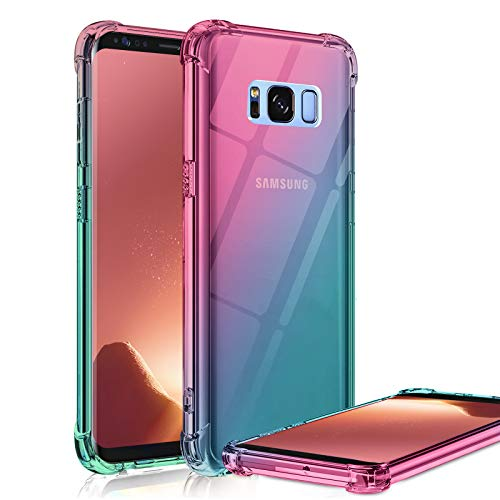 Galaxy S8 Plus Case Clear Cute Gradient Shockproof Bumper Protective Cell Phone Case for Samsung Galaxy S8 Plus Soft TPU Back Covers for Women Girls Flexible Slim Fit Rubber Silicone (Pink/Green)