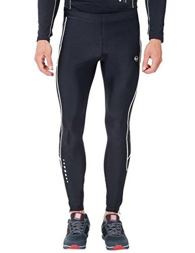 Ultrasport Pantalones largos de correr para hombre, con efecto de compresión y función de secado rápido, Negro/Blanco, S