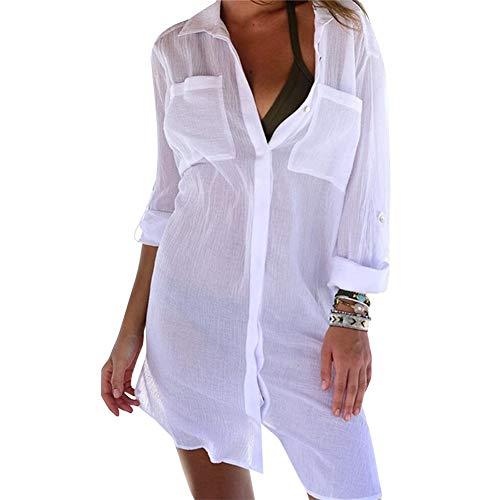 Camisa de Playa de Verano para Mujer Pareo de Bikini Cover Up Playa Sexy Transparente de Mangas Largas con Bolsillos Vestido de Playa de Escote de Polo para Mujer