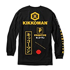 Primitive Skateboards x Kikkoman collection Bold logo graphics to the chest, sleeves and back panel Ribbed crew neck Long sleeves with ribbed cuffs Straight cut hem